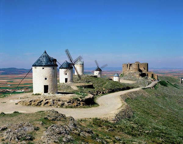 Scenics Art Print featuring the photograph Windmills At La Mancha, Spain by Adina Tovy