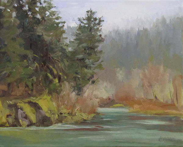 Plein Air Art Print featuring the painting Winter at Swiftwater by Karen Ilari