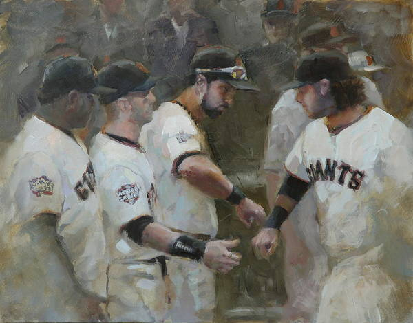 Sf Giants Art Print featuring the painting World Series Fist Bump by Darren Kerr