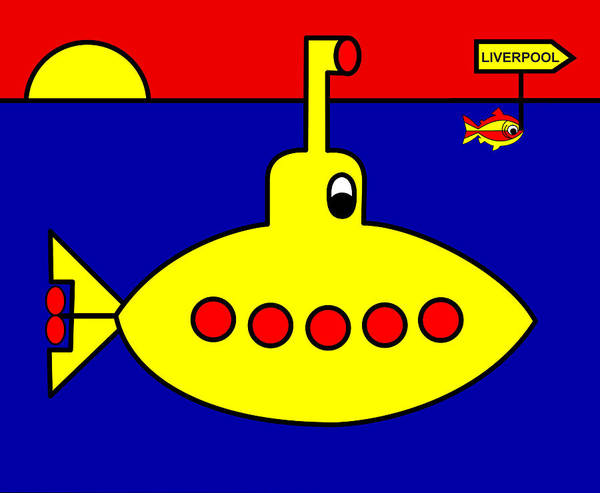 Yellow Submarine Heading For Liverpool Art Print featuring the digital art Yellow Submarine Heading for LIVERPOOL by Asbjorn Lonvig