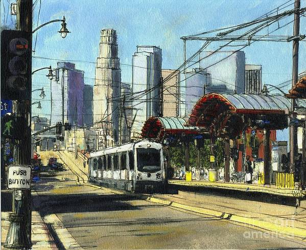 California Art Print featuring the painting 1st Street Train Station LA by Randy Sprout