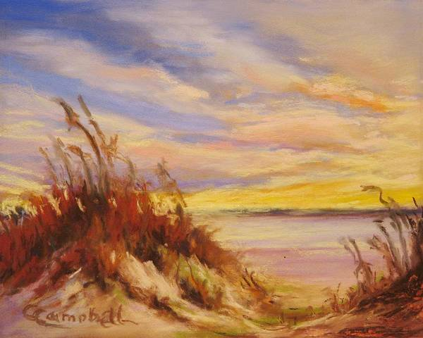 Landscape Art Print featuring the painting Beach Dunes at Dusk by Cecelia Campbell