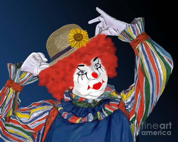 Happy Clown Art Print featuring the painting Happy Clown by Methune Hively