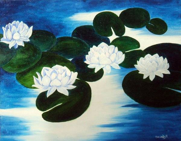 Waterlilies Art Print featuring the painting Lilies by Brandy House