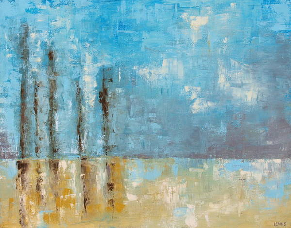 Blue Art Print featuring the painting Reside by Ellen Lewis