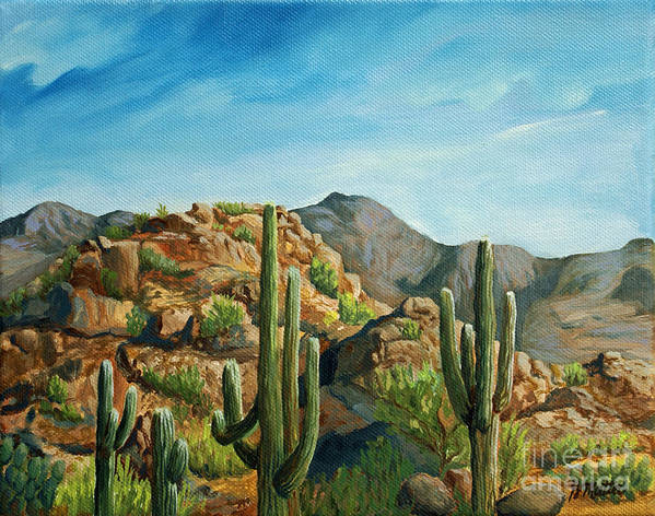 Landscape Art Print featuring the painting Saguaro Canyon by Gretchen Matta