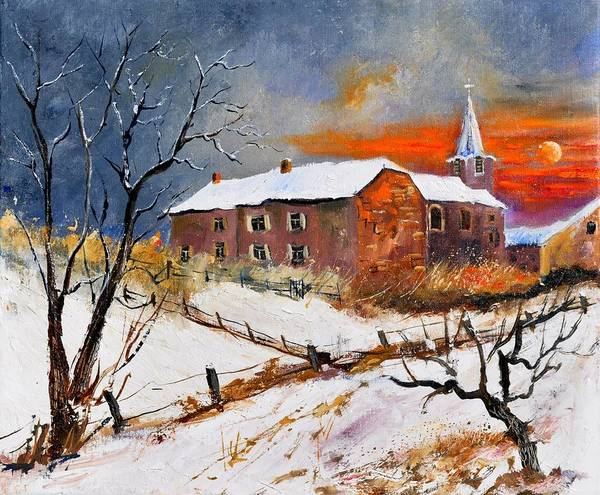 Landscape Art Print featuring the painting Snow In Houyet by Pol Ledent