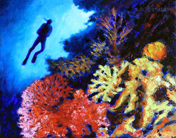 Ocean Art Print featuring the painting Suspended Amongst Natures Beauty by John Lautermilch