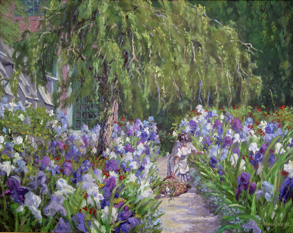 Monet\\\'s Garden Giverny France Art Print featuring the painting Tending The Masters Garden by L Diane Johnson