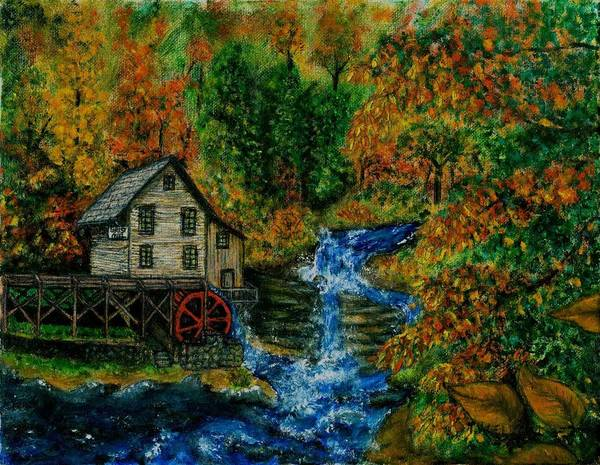 Mill Art Print featuring the painting The Grist Mill in Autumn by Tanna Lee M Wells