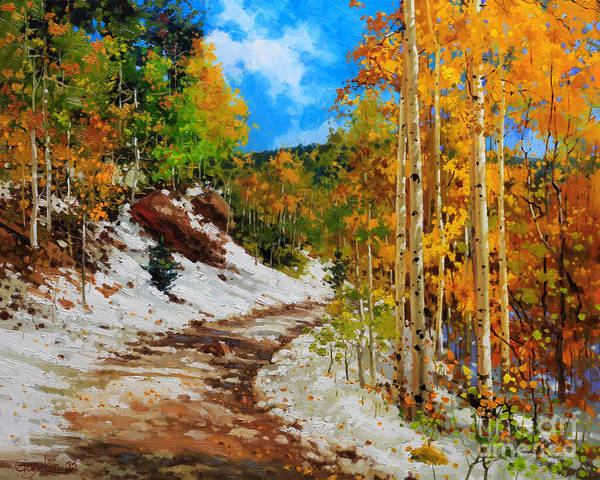 Aspen Tree Art Print featuring the painting Golden aspen trees in snow by Gary Kim