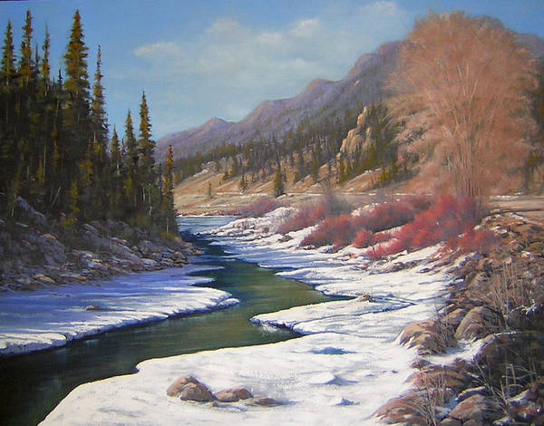 Landscape Art Print featuring the painting 060328-2822  Remnants Of Winter  by Kenneth Shanika