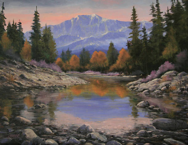 Landscape Art Print featuring the painting 080120-1814 October View - Pikes Peak by Kenneth Shanika