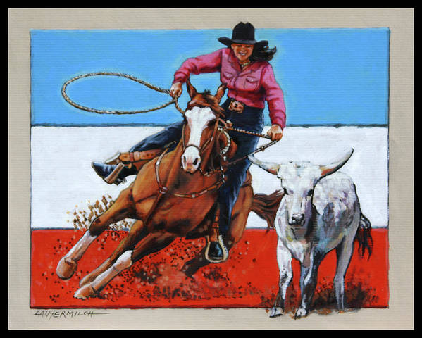 Barrel Riding Art Print featuring the painting American Cowgirl by John Lautermilch