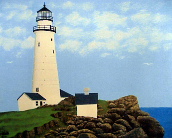 Lighthouse Paintings Art Print featuring the painting Boston Harbor Lighthouse by Frederic Kohli