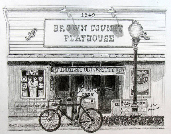 Bicycle Art Print featuring the drawing Brown County Playhouse by Stan Hamilton