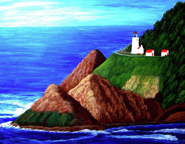 Lighthouse Paintings Art Print featuring the painting Heceta Head Lighthouse by Frederic Kohli