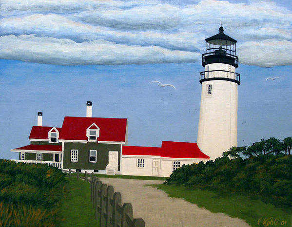 Lighthouse Paintings Art Print featuring the painting Highland Lighthouse by Frederic Kohli