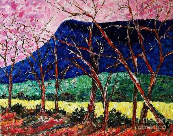 Massanutten Peak Art Print featuring the painting Massanutten Peak Awaiting Spring by Judith Espinoza