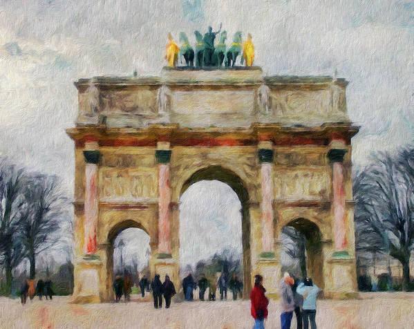 Paris Art Print featuring the digital art Paris Arc by Yury Malkov