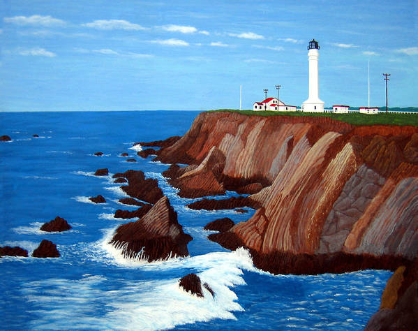 Lighthouse Paintings Art Print featuring the painting Point Arena Light Station by Frederic Kohli