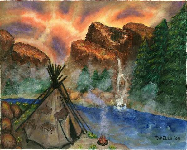 Tepee Art Print featuring the painting Tepee Across from the Misty Hills by Tanna Lee M Wells