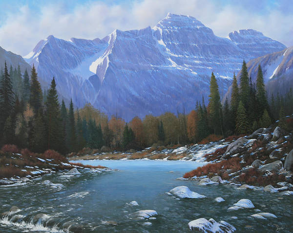Rocky Mountain Landscape Art Print featuring the painting 100129-4860 Winters Early Arrival by Kenneth Shanika