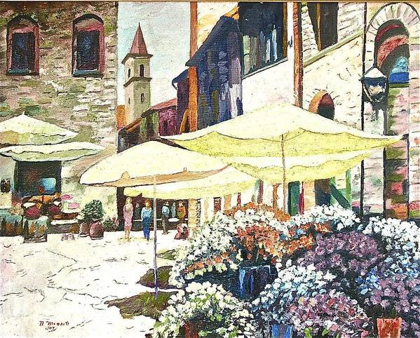 Citiscape Painting Art Print featuring the painting Italian Piazza by Nicholas Minniti