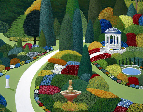 Landscape Paintings Art Print featuring the painting Formal gardens by Frederic Kohli