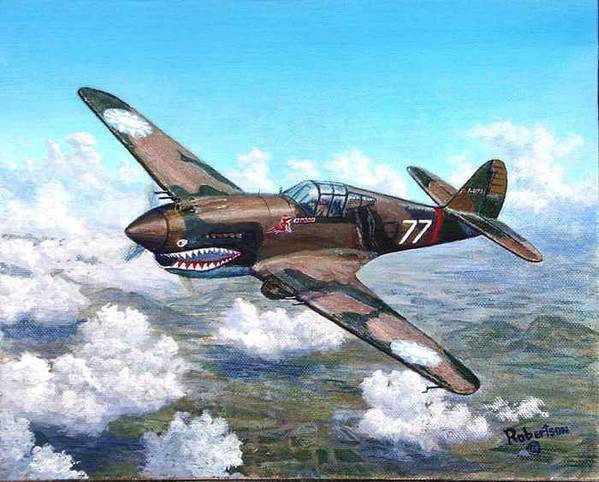 R. T. Smith's Number 77 Over Kunming Art Print featuring the painting Flying Tiger over China by Scott Robertson