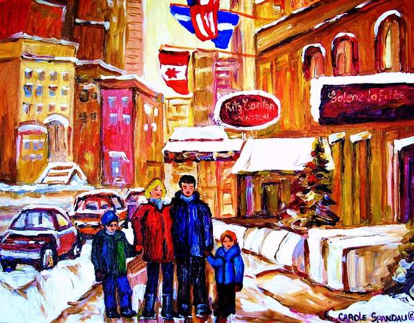 Montreal Art Print featuring the painting Montreal Street In Winter by Carole Spandau