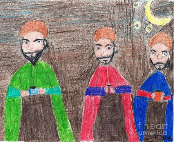 Wise Men Art Print featuring the painting 3 Wise Men by Epic Luis Art