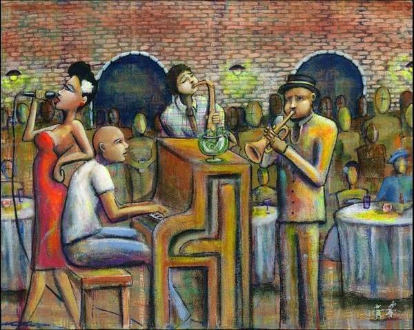 Jazz Art Print featuring the painting A Damn Good Night by Nelson Perez