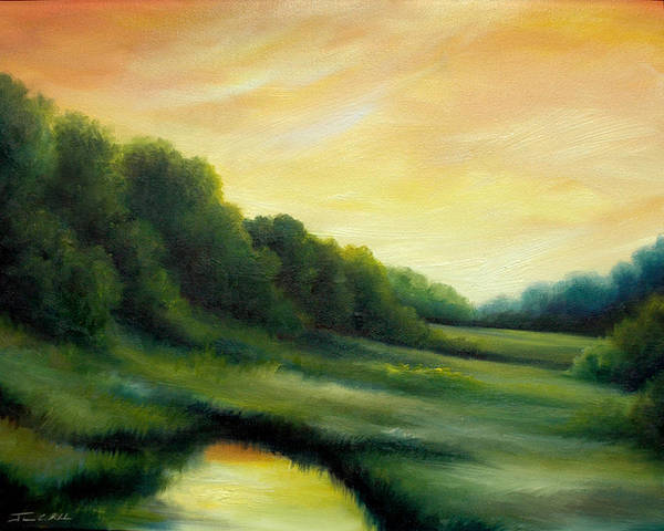 Clouds Art Print featuring the painting A Spring Evening Part Two by James Christopher Hill