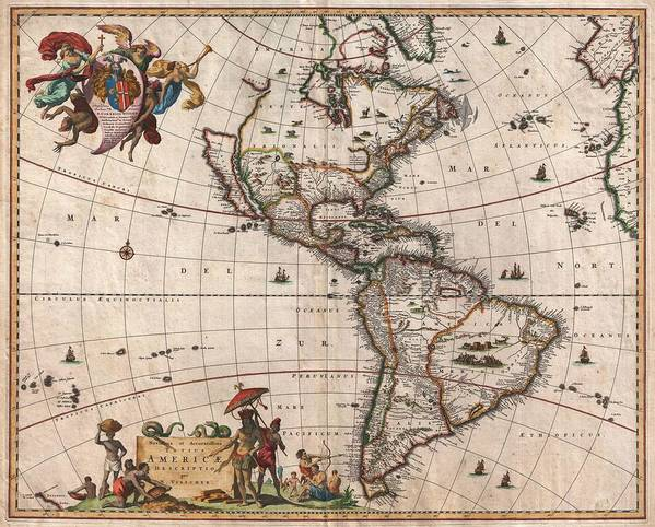 Antique Map Of North America Art Print featuring the drawing Antique Maps - Old Cartographic maps - Antique Map of North and South America, 1658 by Studio Grafiikka