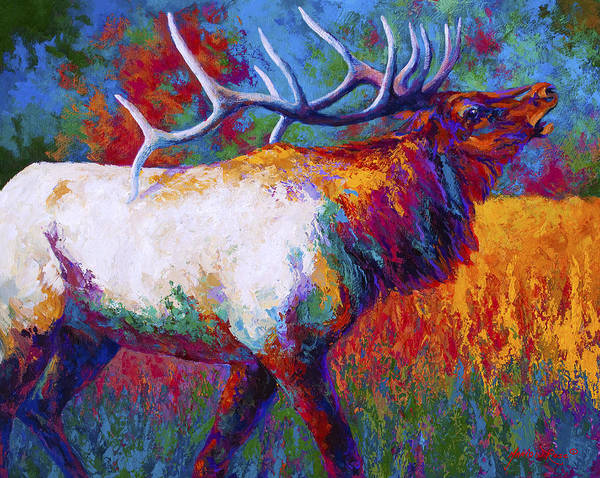 Elk Art Print featuring the painting Autumn by Marion Rose