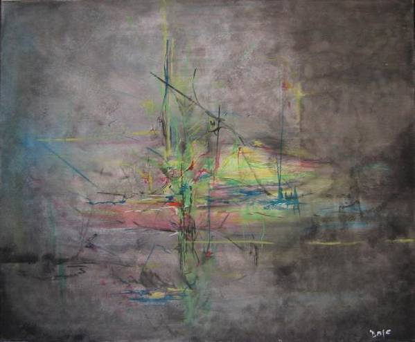 Abstract Art Print featuring the painting AWAKENING ABSTRACT 1 Black Background Bright Detail by Lizzy Forrester