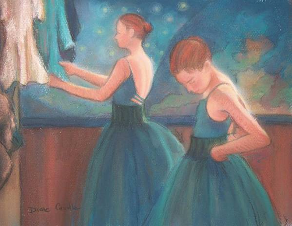 Blue Art Print featuring the painting Ballerinas in Blue Backstage by Diane Caudle