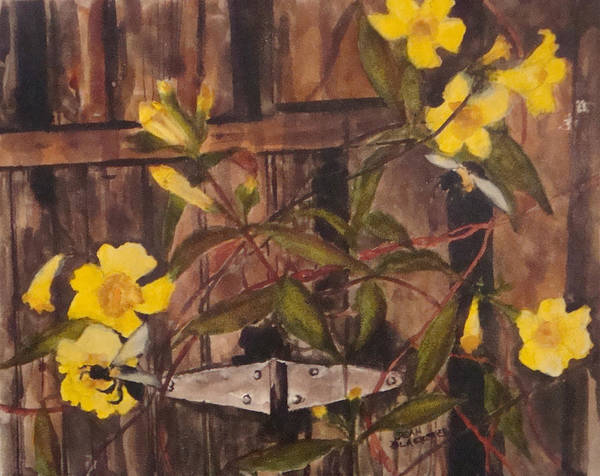 Flower Art Print featuring the painting Barn Door Hinge by Jean Blackmer
