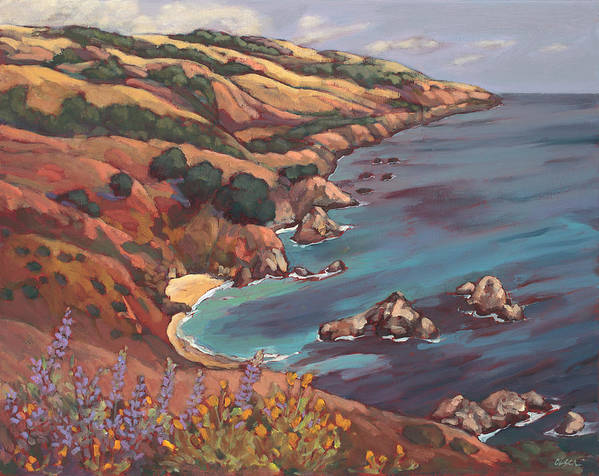 Ocean Art Print featuring the painting Big Sur Coast by Peggy Olsen