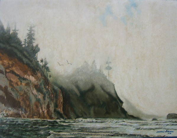 Fog Shrouded Mountains And Water Art Print featuring the painting Big Sur by Howard Stroman