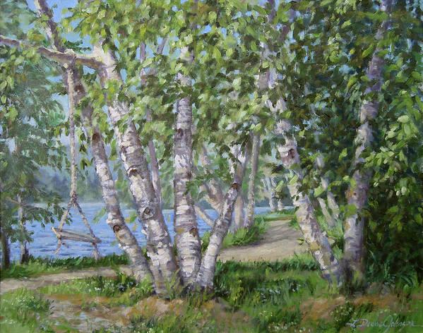 Adirondacks Art Print featuring the painting Birch Lane by L Diane Johnson