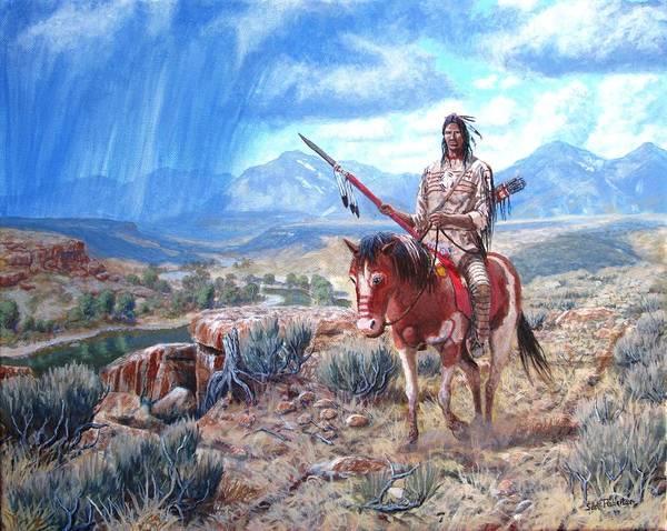 Blackfoot Warrior Art Print featuring the painting Blackfoot Warrior by Scott Robertson
