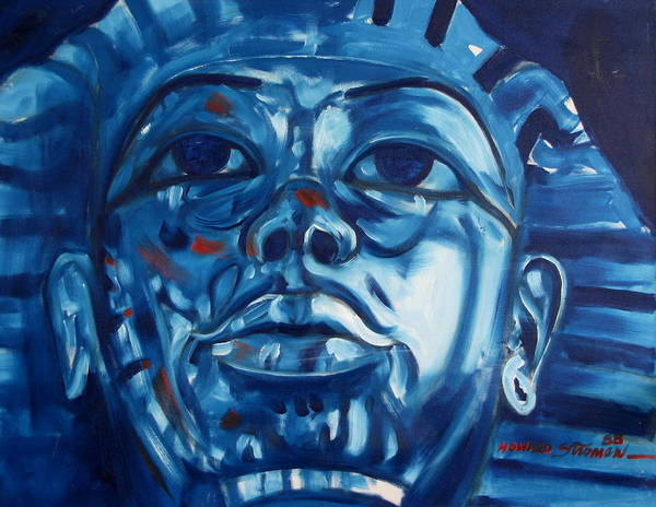 King Tut Art Print featuring the painting Blue Boy by Howard Stroman