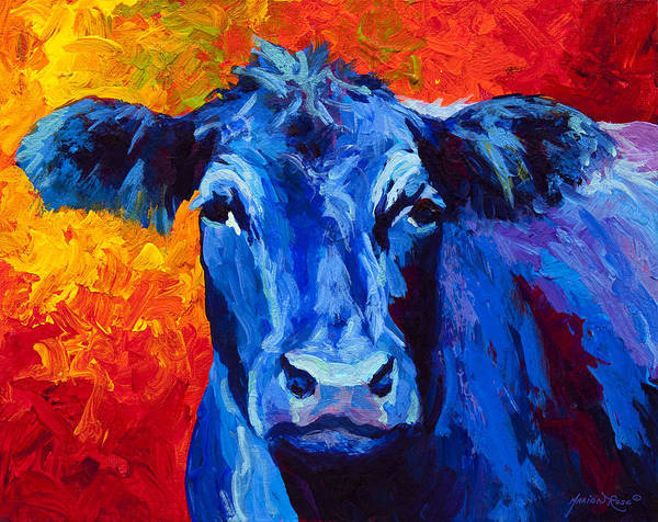 Marion Rose Art Print featuring the painting Blue Cow II by Marion Rose
