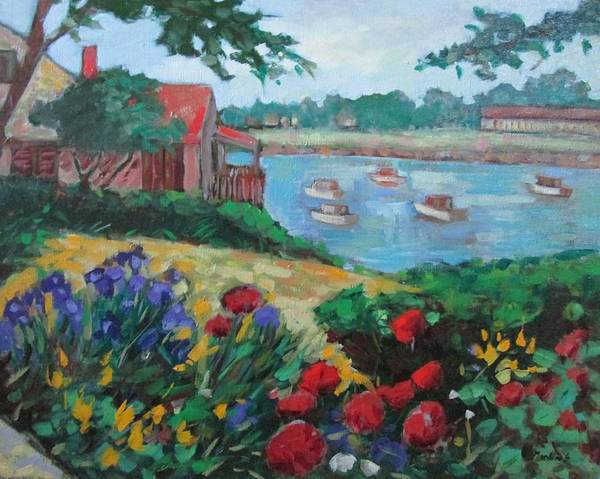 Ogunquit Art Print featuring the painting Boats in Ogunquit by Marilene Sawaf