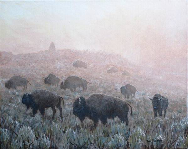 Western Art Art Print featuring the painting Buffalo in Yellowstone Fog by Scott Robertson