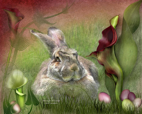 Bunny Art Print featuring the mixed media Bunny In The Lilies by Carol Cavalaris