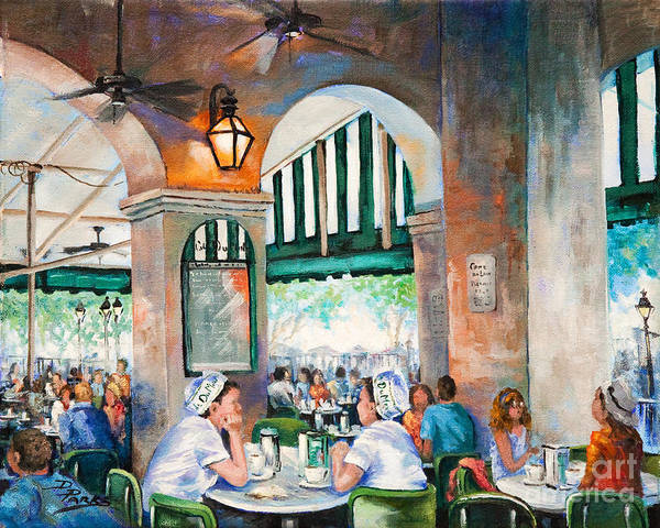Cafe Du Monde Art Print featuring the painting Cafe Girls by Dianne Parks