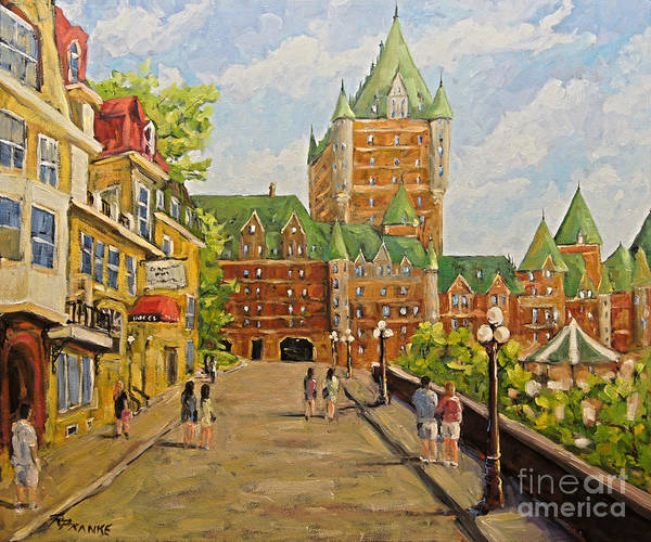 Original Oil Painting Of Chateau Frontenac. Stunning Scene Of Th Art Print featuring the painting Chateau Frontenac Promenade Quebec City by Prankearts by Richard T Pranke